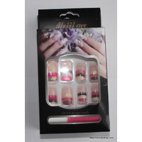 KIT FAUX ONGLES ROSES DEGRADES FRENCH