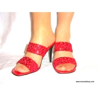SANDALES EN SEQUINS ROUGES 10 CM 41 AU 47