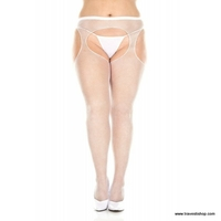 COLLANT OUVERT BLANC RESILLE GRANDE TAILLE