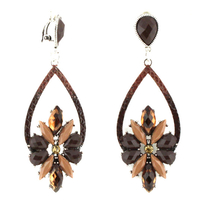 BOUCLES A CLIP GOUTTE MARRON