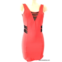ROBE COURTE ROUGE ORANGE ML