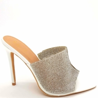 MULES BLANCHES A STRASS EN 41