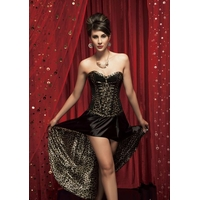 CORSET ET JUPE NOIR PANTHERE SEXY TRAVESTI CHIC TAILLE FEMME XL TAILLE HOMME M-L