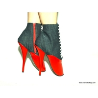 BOTTINES BALLET 20 CM ROUGES ET JEANS 41 AU 47