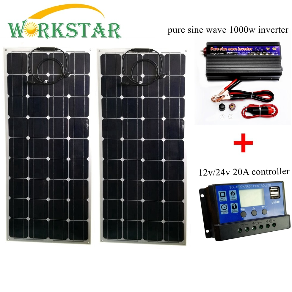 2 panneaux Solaire 100 watt semi flexible avec onduleur 20A et convertisseur 220 volts