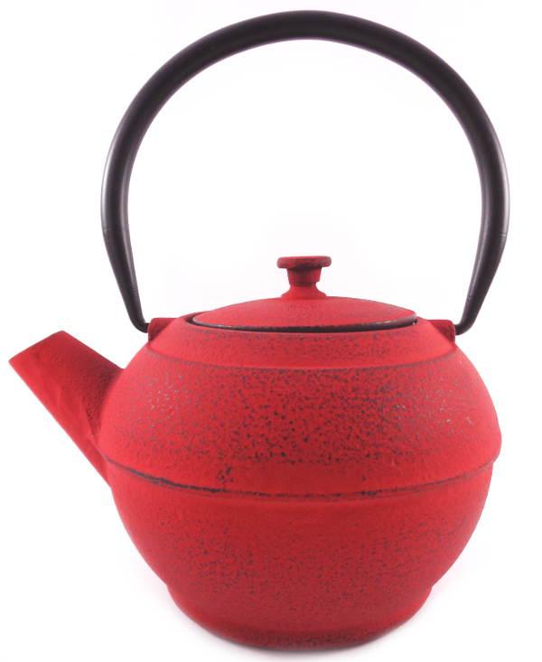 Théière Fonte Couleur Rouge Vif Filtre Inox Chine