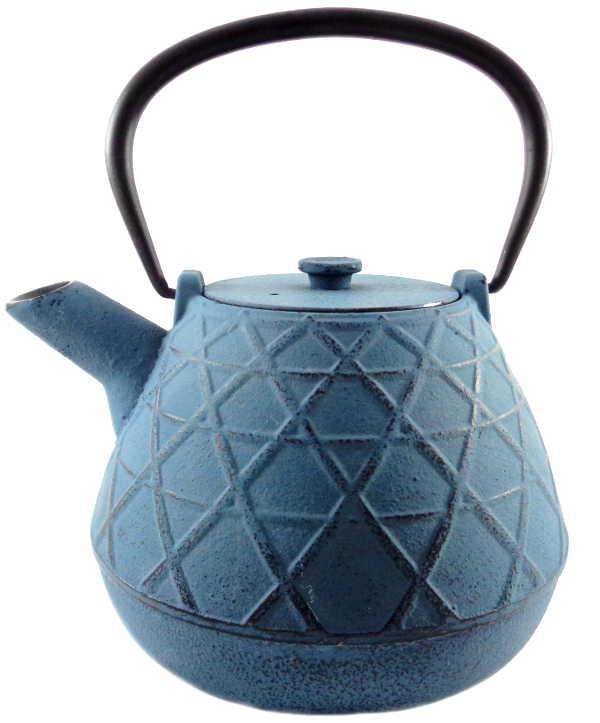 Théière en Fonte Chine Bleue Claire avec Filtre Inox