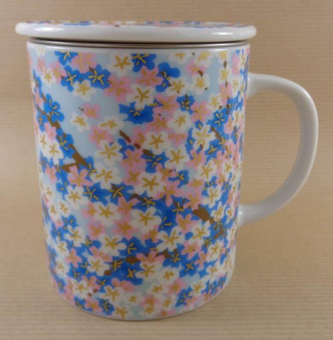 Tisanière Céramique Japon Fleurs Bleues
