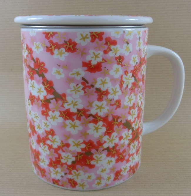 Tisanière Céramique Japon Fleurs Rouges