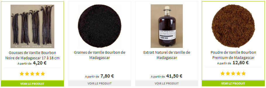 Vanille de Madagascar Gousse Poudre Extrait et Caviar