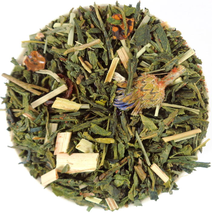 Thé Vert Biologique Parfumé Feuilles de Basilic, Fraise et Citronnelle Bio