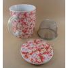 Tisanière Céramique Japon Motifs Fleurs Rouges Filtre Inox