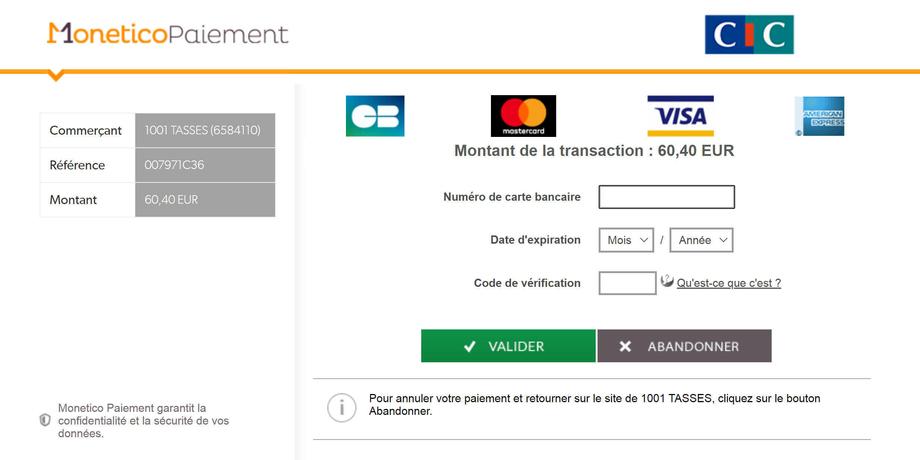 Paiement Sécurisé CIC Monetico 1001 TASSES