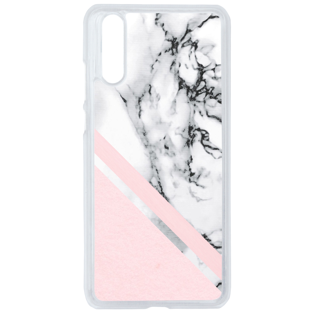 Coque Rigide Pour Huawei P20 Pro Motif Graphique Marbre Blanc Et Rose