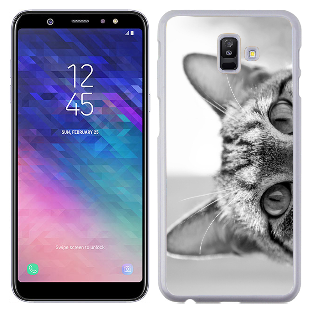 Coque Rigide Pour Samsung Galaxy A6 Plus Motif Chat Gris Humour