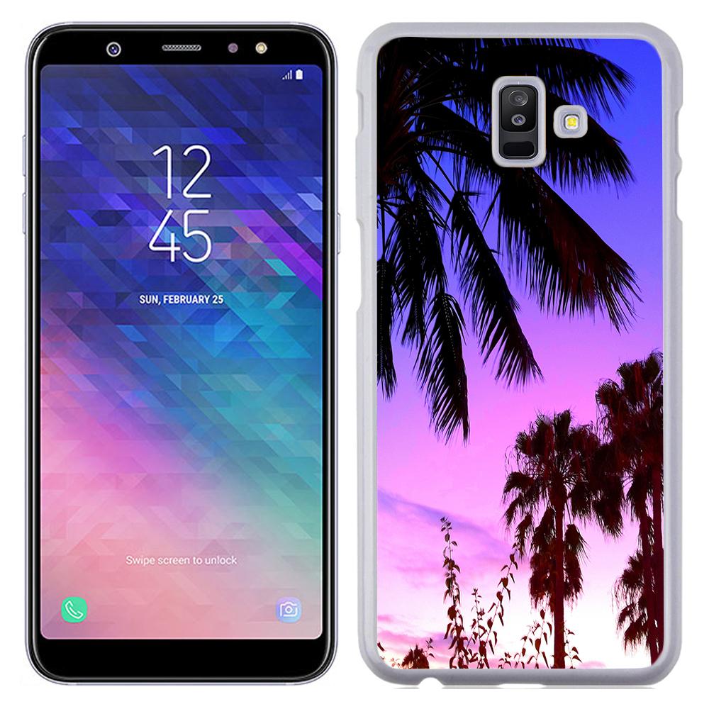 Coque Rigide Pour Samsung Galaxy J6 Plus Motif Palmier Couché Soleil