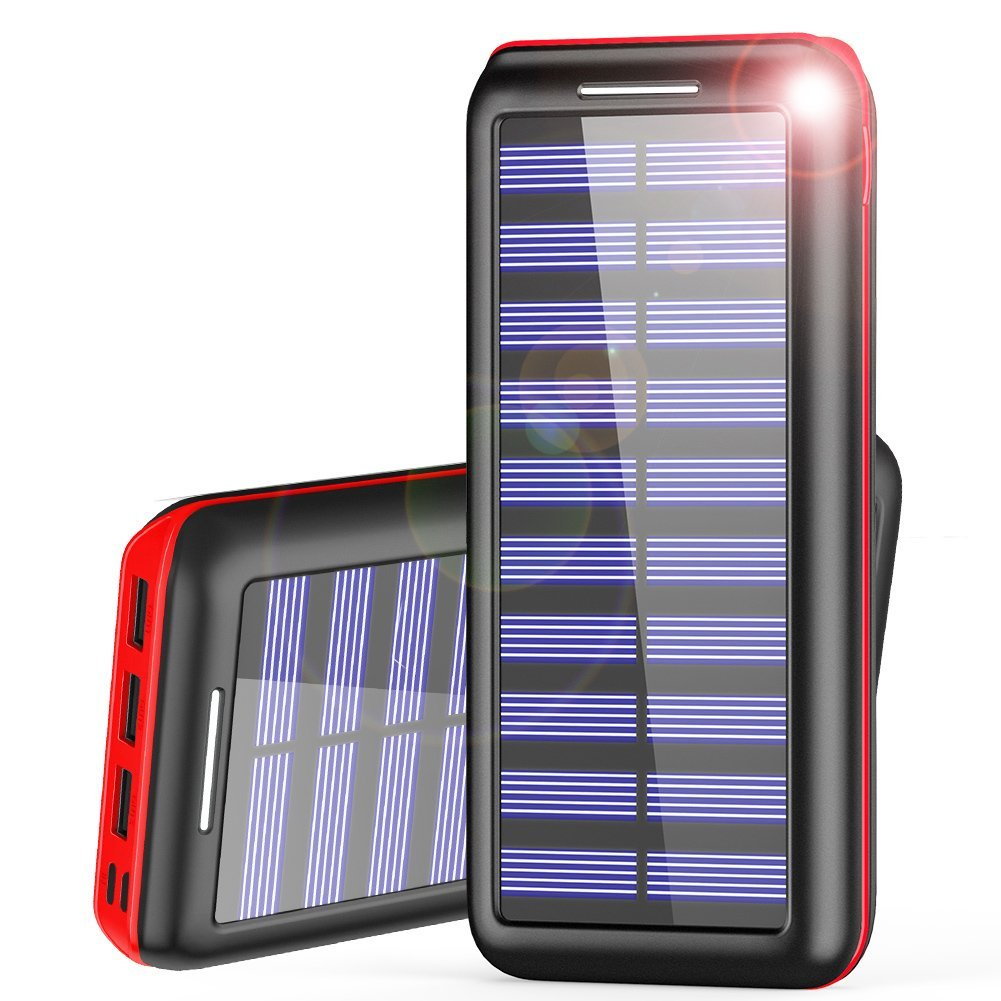 Power Bank Batterie Externe de Secours Solaire 24 000 mAh