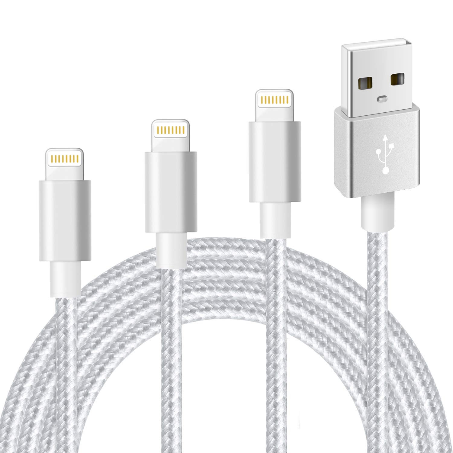 Câble Data + Charge Rapide USB Type Apple Nylon Lot de 3 Pièces