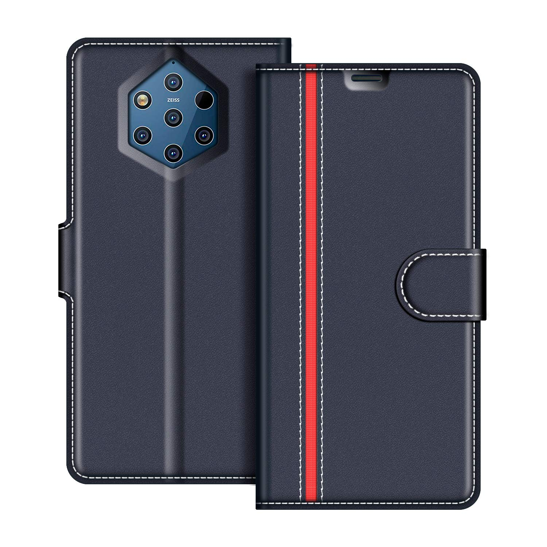 Etui Portefeuille Pemium Bleu et Rouge pour Nokia 9 Pureview