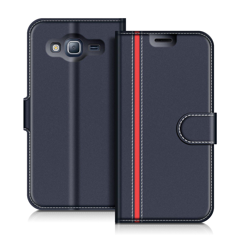 Etui Portefeuille Pemium Bleu et Rouge pour Samsung Galaxy J3 2016