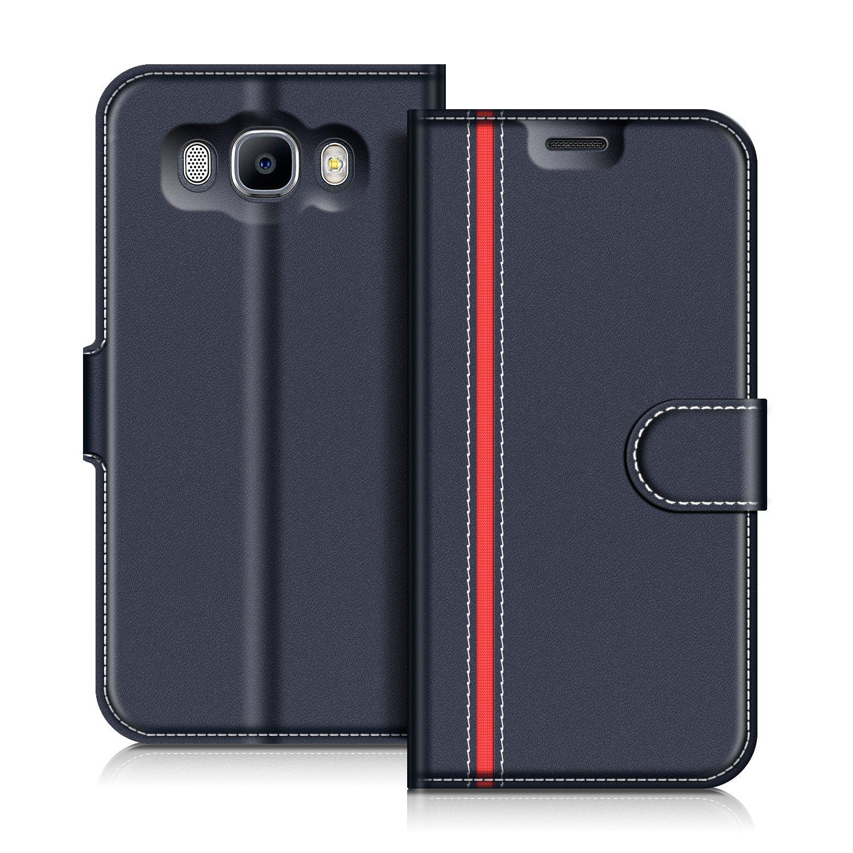 Etui Portefeuille Pemium Bleu et Rouge pour Samsung Galaxy J7 2016