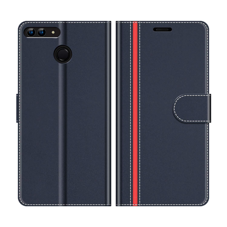 Etui Portefeuille Pemium Bleu et Rouge pour Huawei P Smart