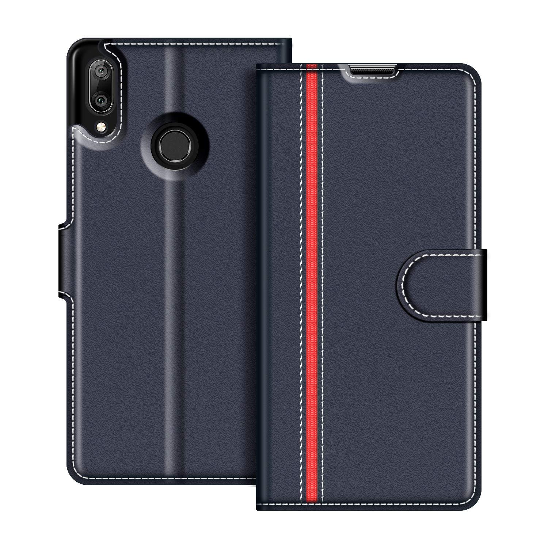 Etui Portefeuille Pemium Bleu et Rouge pour Huawei Y7 2019