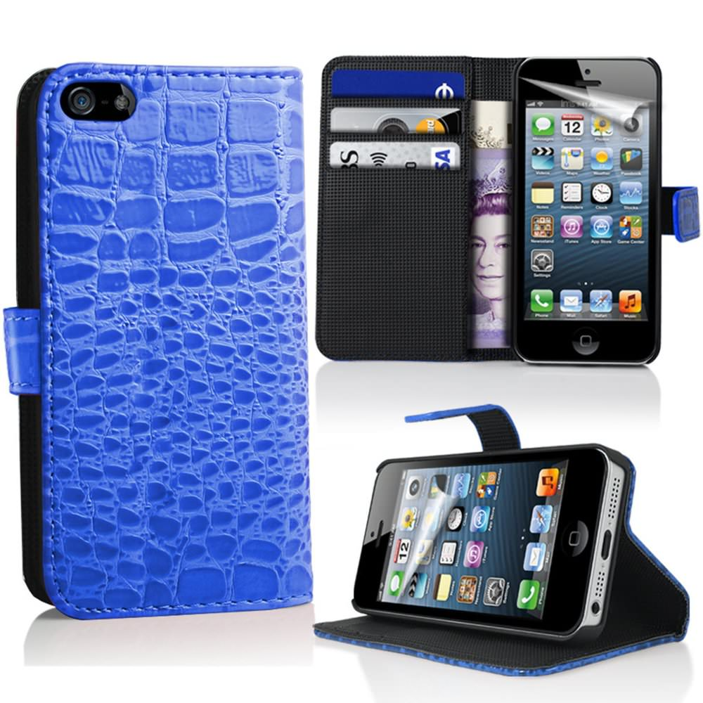 etui housse coque portefeuille pour crocodile pour apple iphone 5 5s ebay. Black Bedroom Furniture Sets. Home Design Ideas