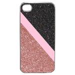 Coque Rigide Pour Apple Iphone 4 - 4s Motif Graphique Paillettes Rose Et Noir
