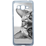 Coque Rigide Pour Samsung Galaxy Grand Prime Motif Chat Gris Humour