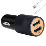 Chargeur Voiture Double Port Usb + Cable Pour Apple Iphone 6 Plus - 6s Plus