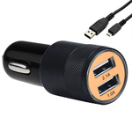 Chargeur Voiture Double Port Usb + Cable Pour Blackberry Passport