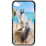 Coque Rigide Pour Apple Iphone 4 - 4s Motif Chat Plage Humour
