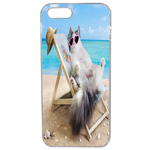 Coque Rigide Pour Apple Iphone Se Motif Chat Plage Humour