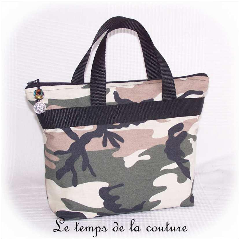 Sac à main camouflage militaire tons Noir, kaki, marron et beige