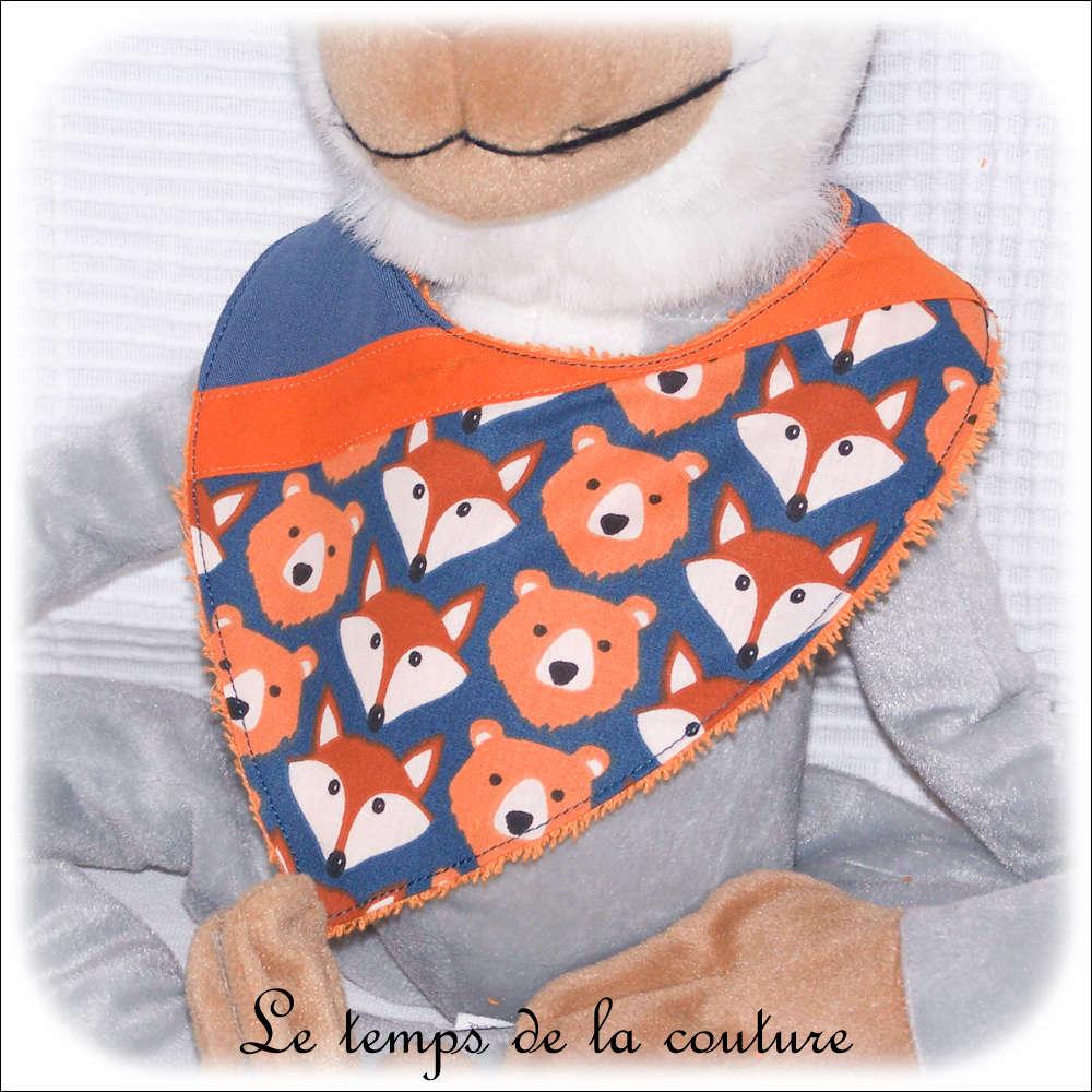 Bavoir bandana pour bébé, ours et renard tons bleu et orange