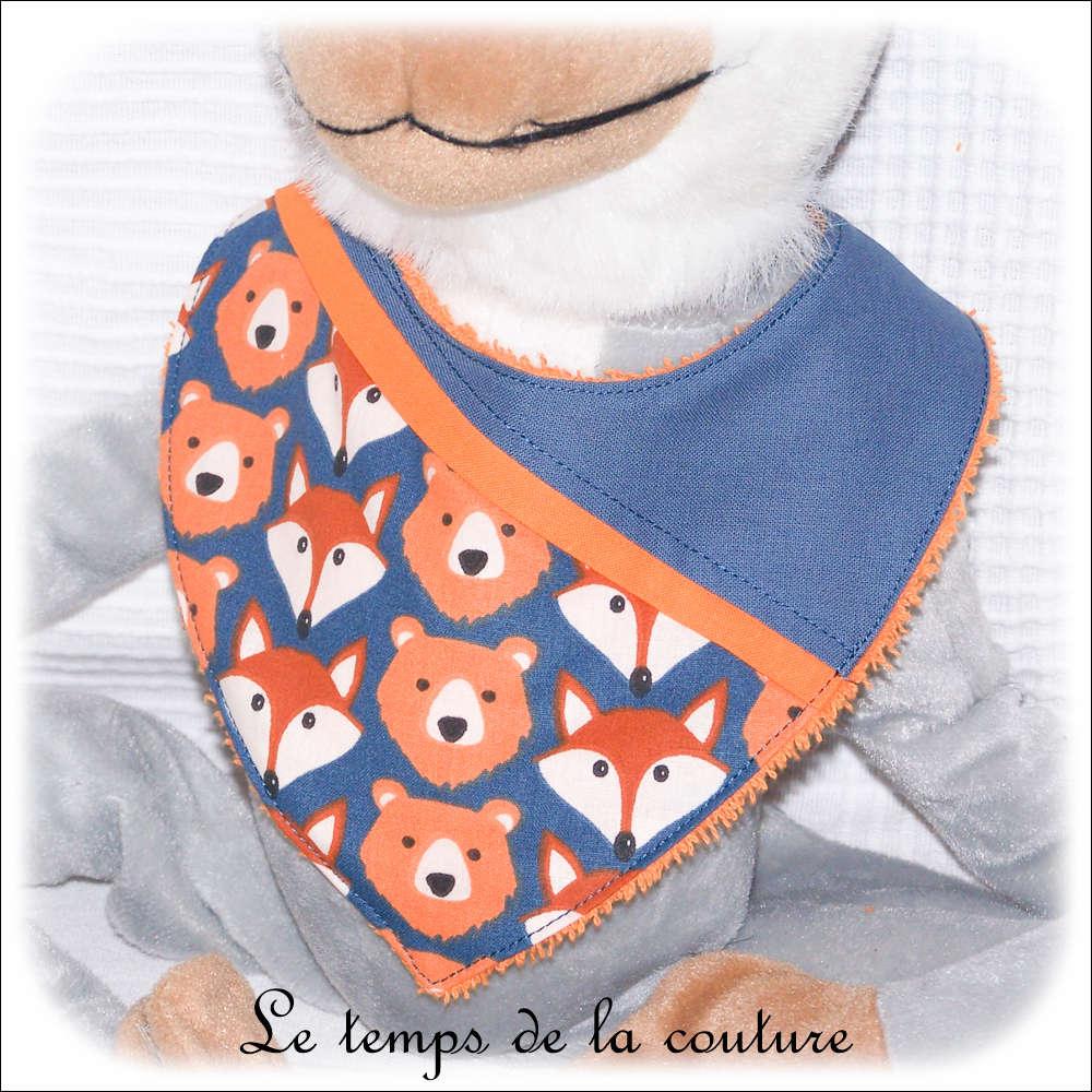 Bavoir bandana pour bébé, renard et ours tons bleu et orange