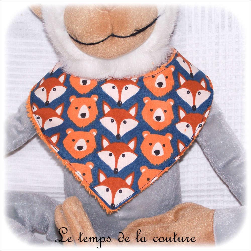 Bavoir bandana pour bébé, renard et ours tons orange et bleu