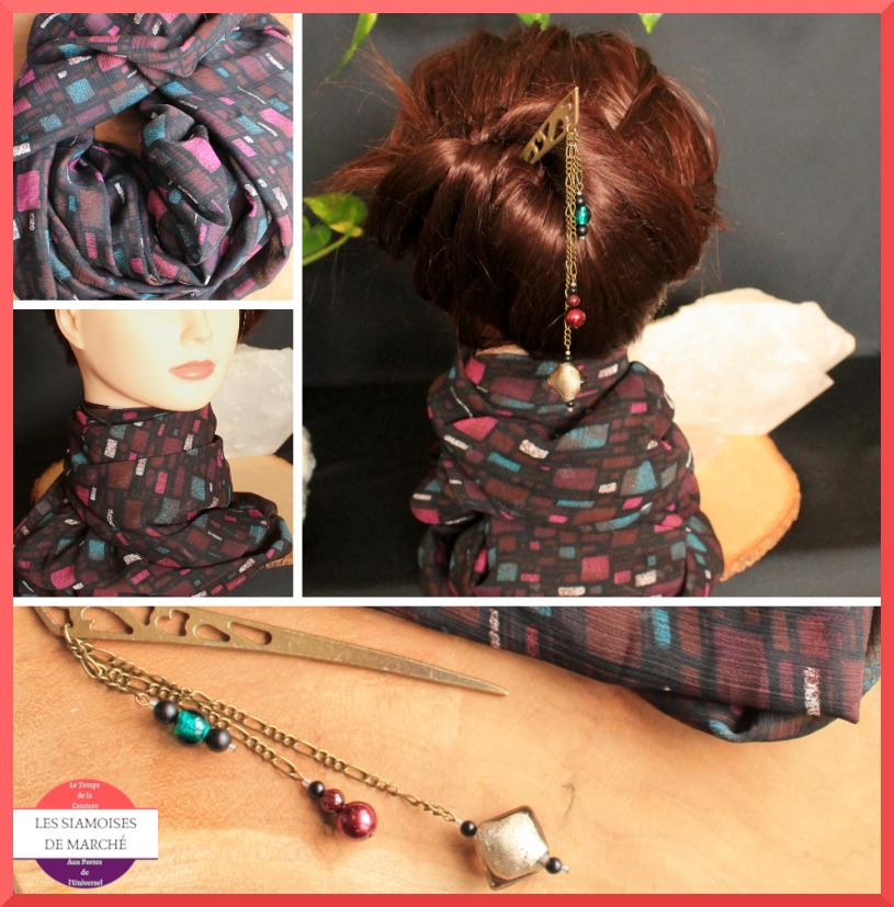 Ensemble Snood foulard et son pique à cheveux noir, prune et vert canard