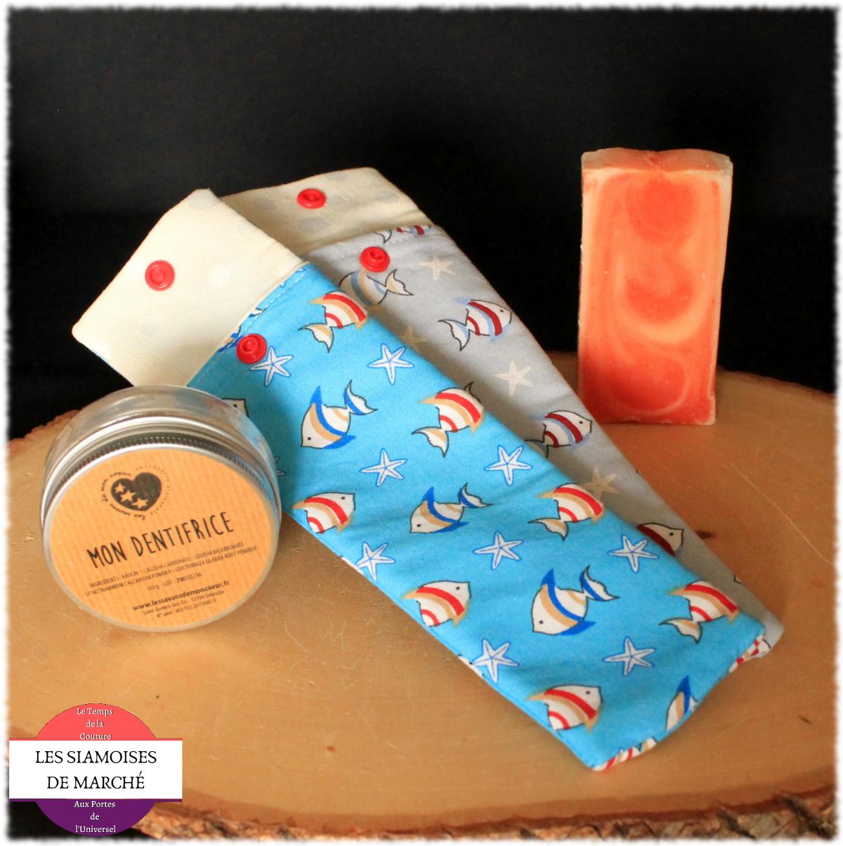 Lot Zéro déchet : 1 pochette à brosse à dent, un dentifrice en poudre naturel et un savon SAF