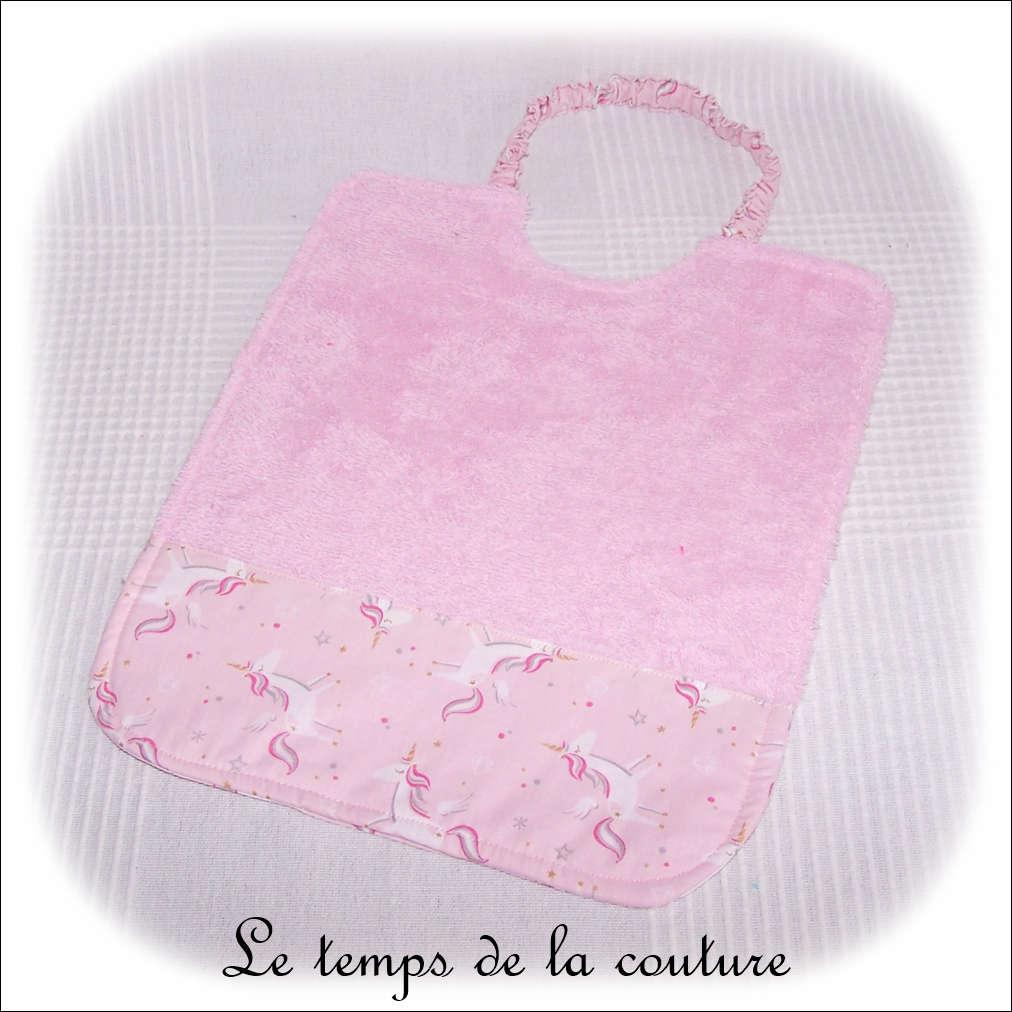 Enfant - bavoir double - rose pale et imp licorne rose01 - GFC