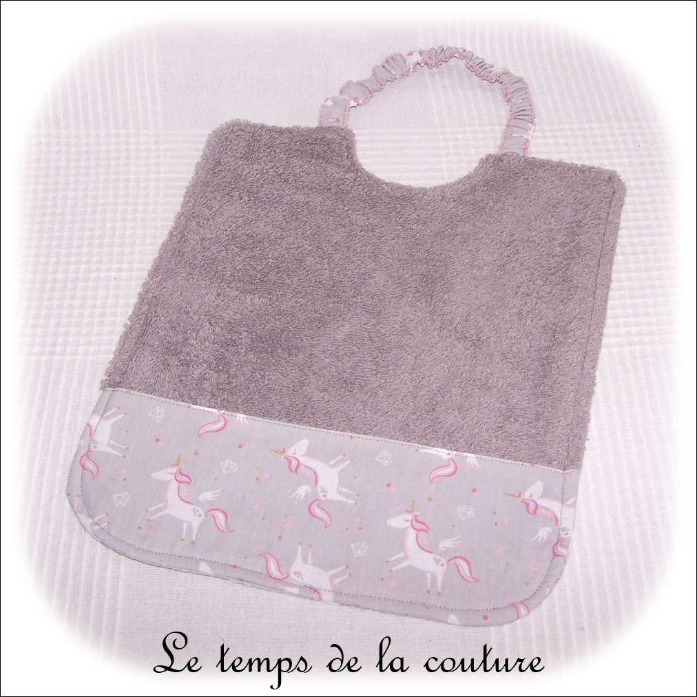 Enfant - bavoir double - gris et imp licorne gris01 - GFC
