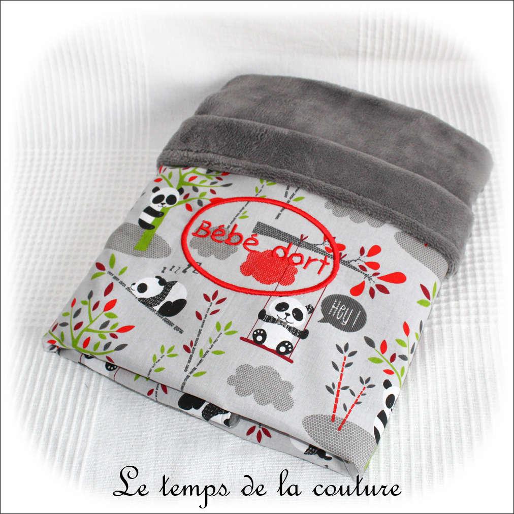 Enfant - couverture - gris et imp panda gris br bebe dort01 - GFC