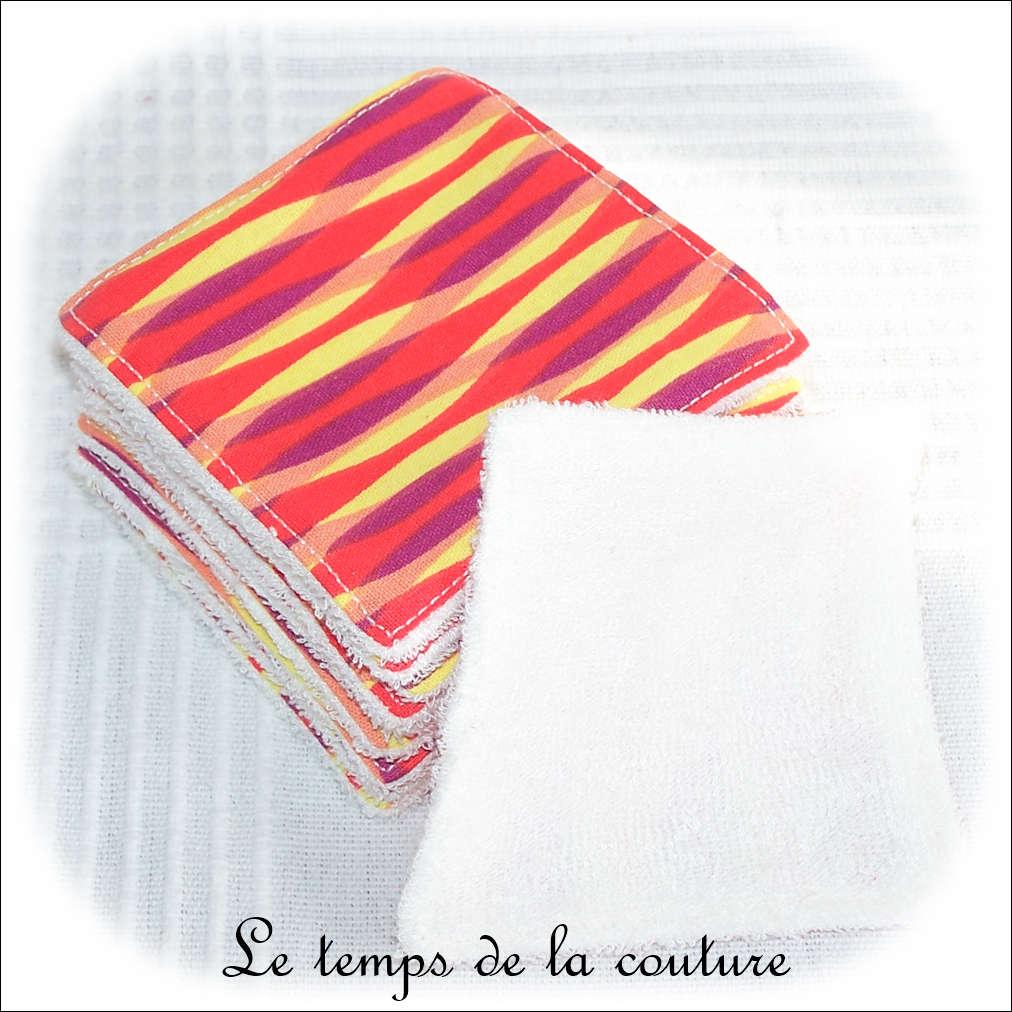 Lot de 8 lingettes lavables micro éponge de bambou Tons multicolores