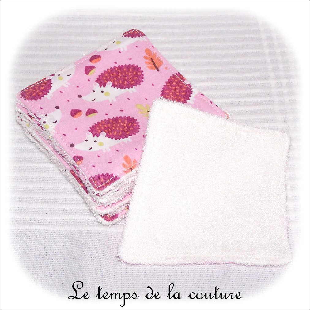 Lot de 8 lingettes lavables micro éponge de bambou Ton rose motif hérisson