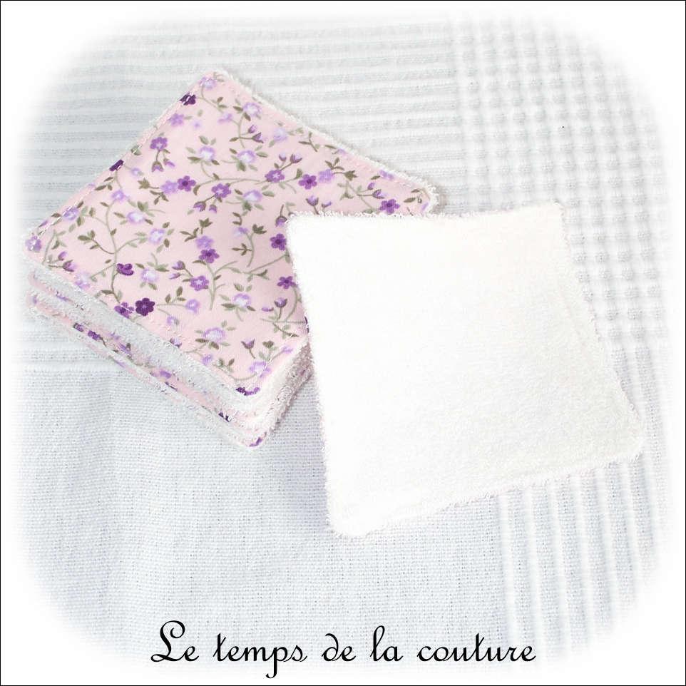 Lot de 8 lingettes lavables micro éponge de bambou Tons rose violet vert motif fleur