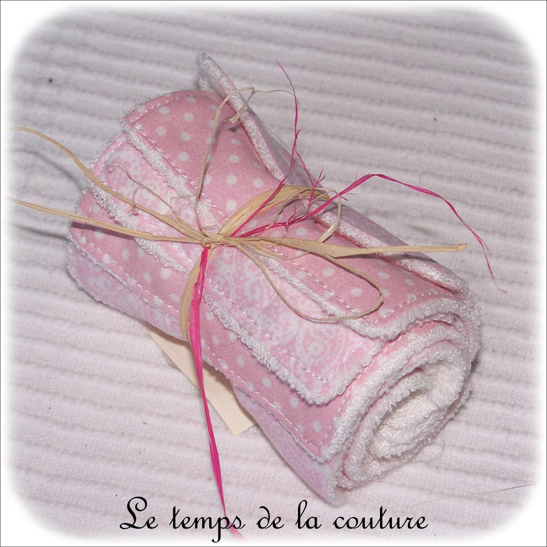Lot de 8 lingettes lavables micro éponge de bambou Tons rose blanc
