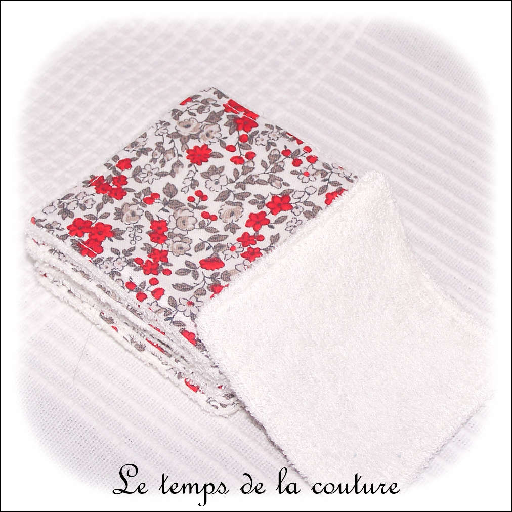 Lot de 6 lingettes lavables micro éponge de bambou Tons gris et rouge motif fleur