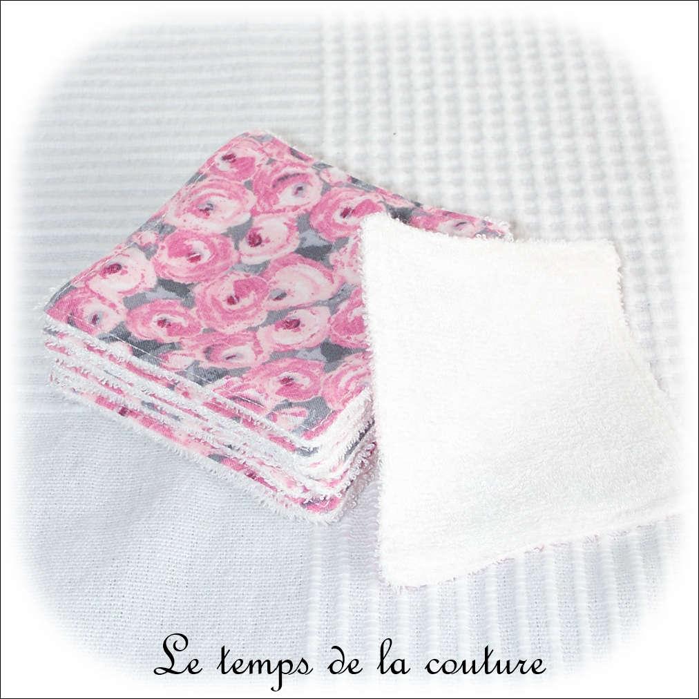 Lot de 6 lingettes lavables micro éponge de bambou Tons gris et rose motif fleur