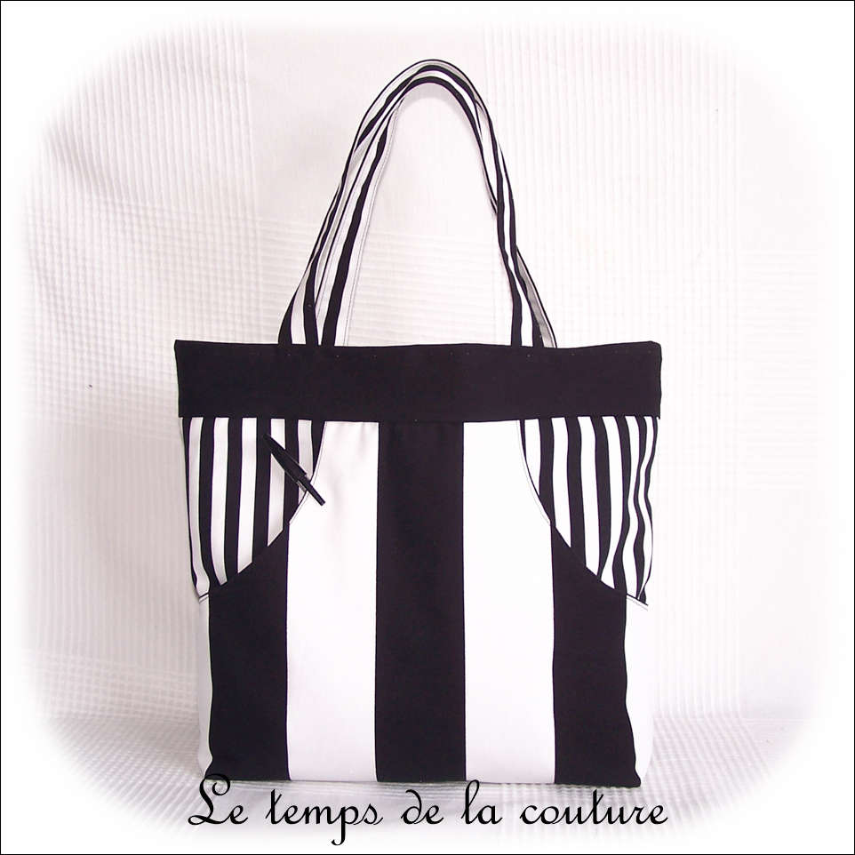 Sac - cabas non zippe - blanc noir rayure01 - GFC